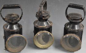 Three British Railways tri colour railway hand lamps, each stamped BR, height 28.5cm