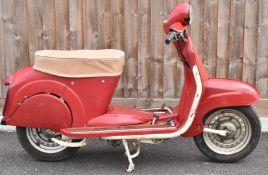 1961 James SC1 150cc scooter motorbike, registration number 293 BLJ with original buff logbook and