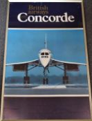 British Airways Concorde travel agent's or similar poster, featuring a front on view of the aircraft