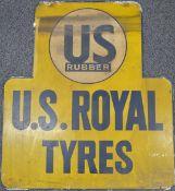 US Royal Tyres vintage metal car or motorcycle interest advertising sign, 80 x 71cm