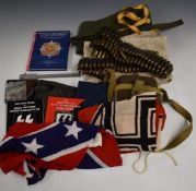 Small collection of militaria including British water bottle, two belts of linked ammunition,