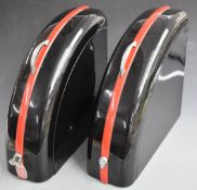 Pair of Rodark motorcycle panniers to suit vintage or classic motorbike, with chrome carrying
