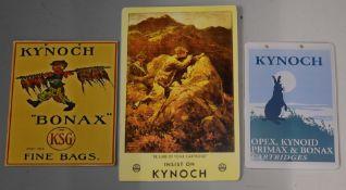 Three modern Kynoch shotgun cartridge shop display or advertising boards Kynoch Opex, Kynoid