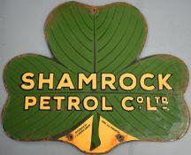 Shamrock Petrol Co. Ltd car or motorcycle interest enamel advertising sign, also marked 'distributed