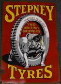 Stepney Tyres enamel car or motorcycle advertising sign depicting a bulldog astride a tyre to the