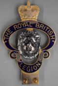 Royal British Legion vintage or classic car badge with blue enamel decoration, height 15.5cm