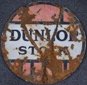 Dunlop Stock vintage car or motorcycle interest double sided enamel advertising sign, diameter 61cm