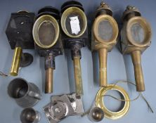 Pair of 19thC coaching lamps, pair of reproduction coaching lamps, further lamp, Ravens Golfing