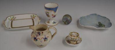 A group of ceramics including Meissen egg cup, jug, Copenhagen dish, Spode and a large vintage