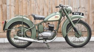 1952 BSA Bantam D1 125cc two stroke plunger motorbike, transferable registration number PHU 5, with