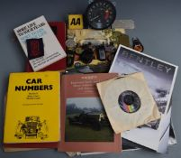 Motoring collectables including dashboard plaques for Bentley and Performance Cars Ltd, keyrings,