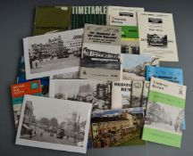 Bus and tram ephemera to include Bristol Omnibus timetables dated 1967 and 1965, Ian Allan books and