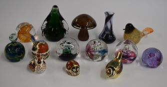 Thirteen Royal Crown Derby, Caithness, Mdina, Wedgwood and similar glass and ceramic paperweights