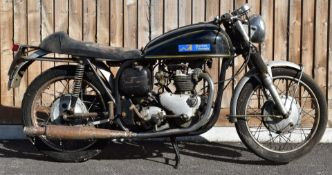 1960 Triton 500cc motorbike with Norton ES2 frame and Triumph T100 engine, registration number XAS