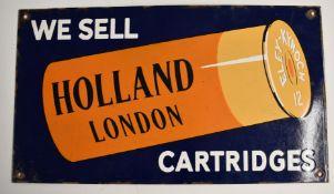 Holland London shotgun cartridges enamel shop display or advertising sign 'We Sell Holland London