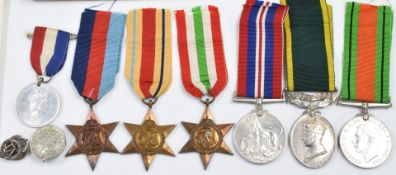 British Army WW2 Royal Artillery group of six medals comprising 1939/1945 Star, Africa Star, Italy