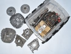 Villiers Starmaker motorbike engine parts, to include three crankcase halves, flywheels, two