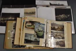 Five albums of shipping and naval interest postcards, clippings and photographs, including