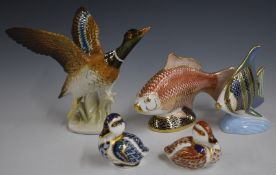 Karl Ens duck and four Royal Crown Derby paperweights, tallest 15cm