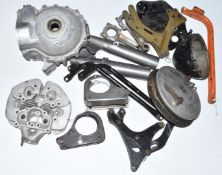 Two boxes of BSA motorbike parts, to include pair of A10 crankcases, cylinder head, pair of con
