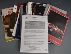 Circa 1970's and 80's car brochures and ephemera to include Alfa Romeo, Mercury, Ford, Lancia,