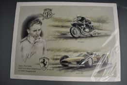 John Surtees, Aitken signed limited edition print (41/350) celebrating his being champion on both