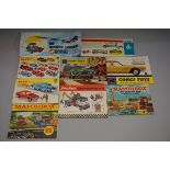 An interesting collection of vintage Corgi, Dinky and Matchbox catalogues, to include Corgi 1962. (