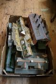 A large collection of 'OO' gauge buildings, footbridges and similar. (qty)