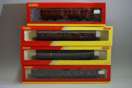 Four 'OO' gauge LMS coaches,each in possibly associated box. (4)
