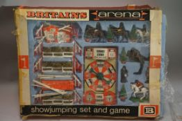 Two vintage Britain's boxed equestrian sets, comprising: an 'Arena' show jumping set, No. 7580;