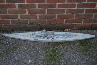 A grey painted wood and metal model of a German Schlachtschiff or battleship, total length 115cm