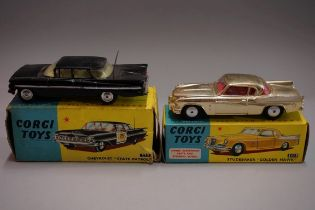 Two Corgi American cars, comprising: 2115 'Studebaker Golden Hawk'; and 223 Chevrolet State Patrol',