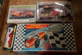 A vintage Kader 'Road Racing' slot car set, boxed; together with a Corgi 415 Mazda Camper, boxed;