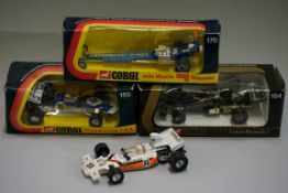 Four Corgi diecast racing cars, comprising: 170 'John Woolfe Dragster', boxed; 154 'JPS Lotus