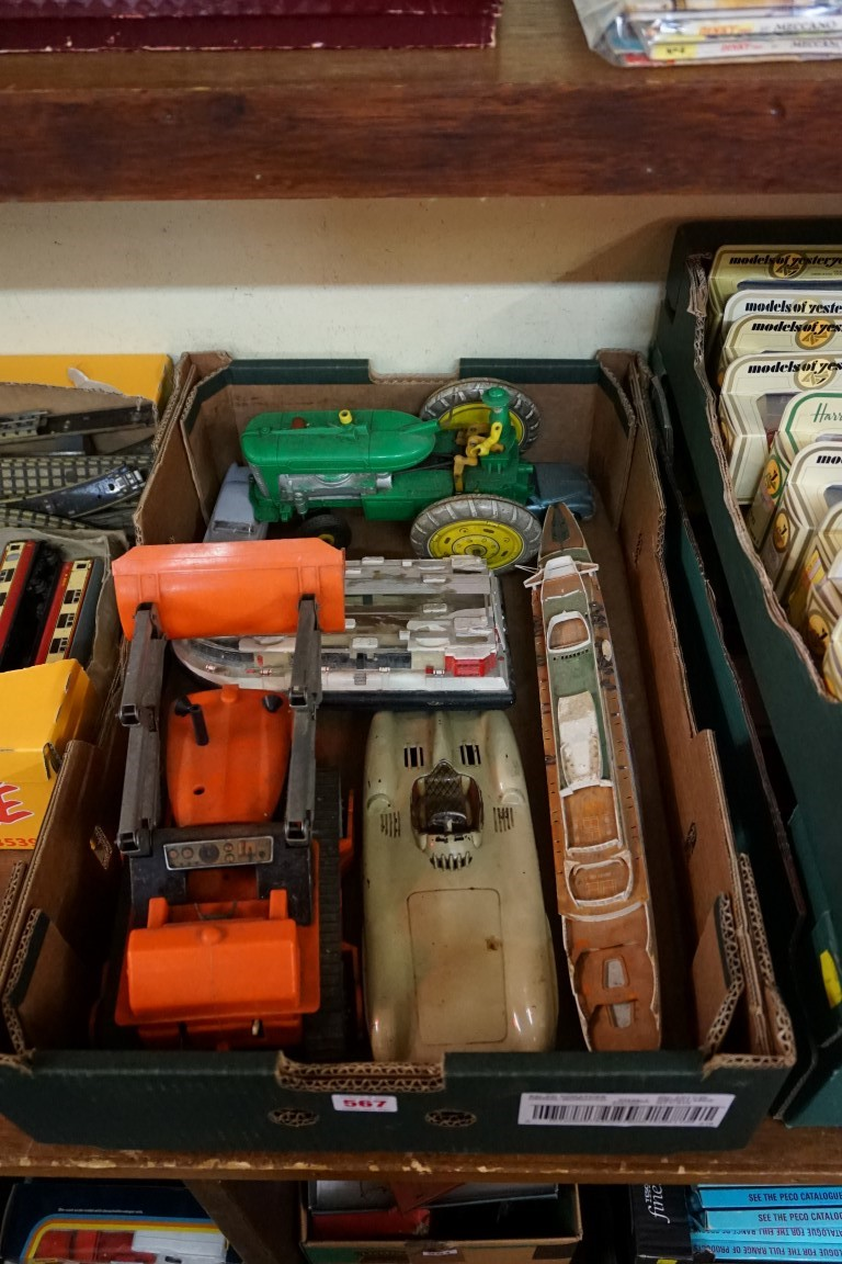 A mixed group of vintage toys, comprising: a 'Made in Western Germany' tinplate 'Mercedes Benz W196'