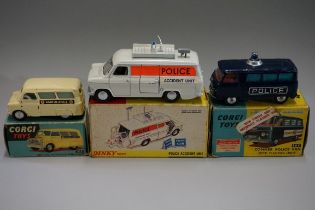 Three diecast 'Emergency Services' vehicles, comprising: Dinky 287 'Police Accident Unit'; Corgi 464