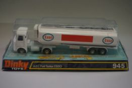 A Dinky 945 'AEC Fuel Tanker Esso', in bubble box.