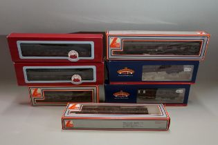 Seven various 'OO' gauge LMS coaches, each in box.