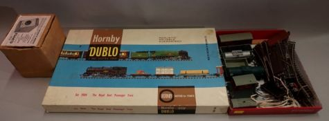 A vintage Hornby 'Dublo' set 2034 'The Royal Scot Passenger Train', boxed; together with a small