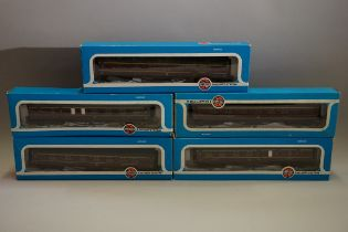 Five Airfix 'OO' gauge LMS coaches, each in Airfix box. (5)