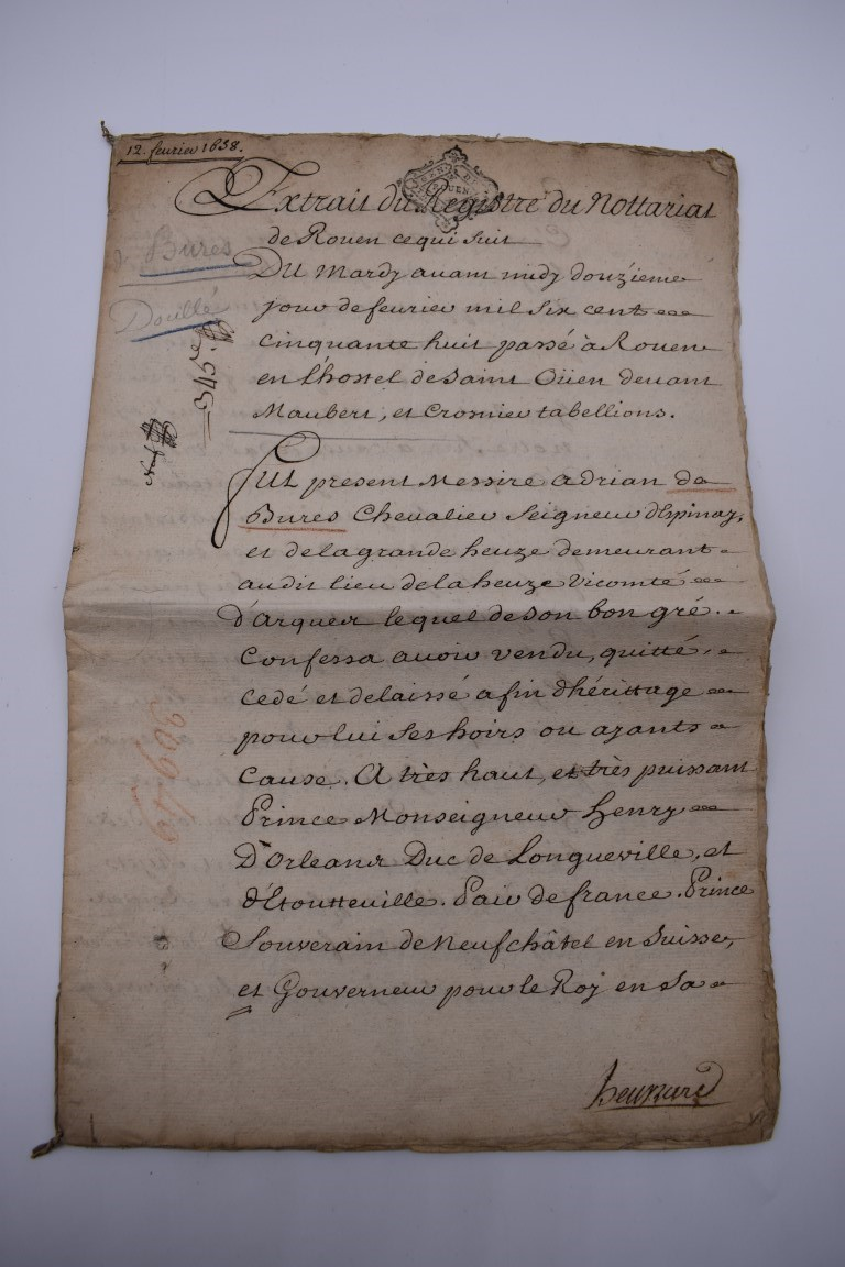 CONTINENTAL DOCUMENTS: group of 9 items, including French manuscript on vellum dated 1645: - Image 16 of 24
