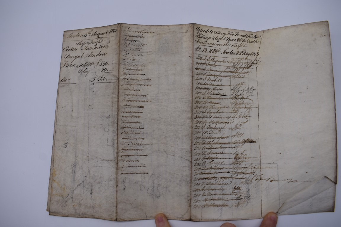 MARITIME DOCUMENTS:a group of 3, to include marine insurance policy 1801, all war risks covered ' - Image 12 of 15