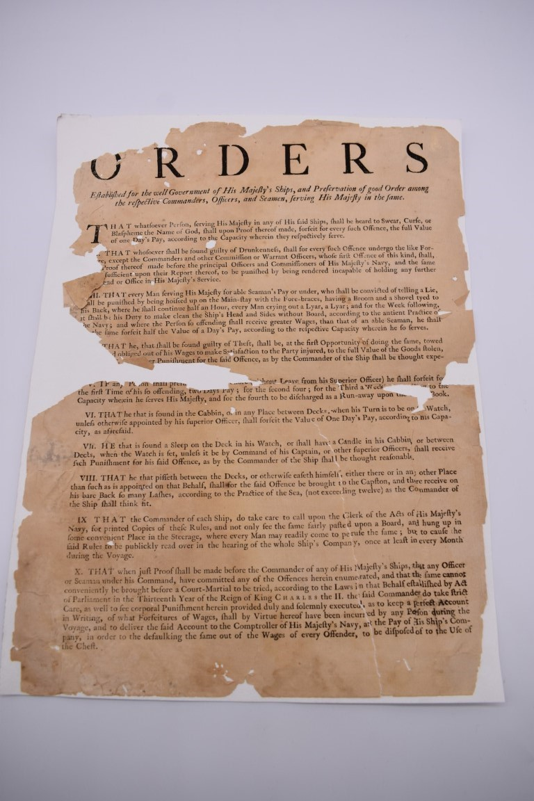NAVAL ORDERS:collection of 3 late 18th century manuscript naval orders, variable condition, - Image 8 of 8