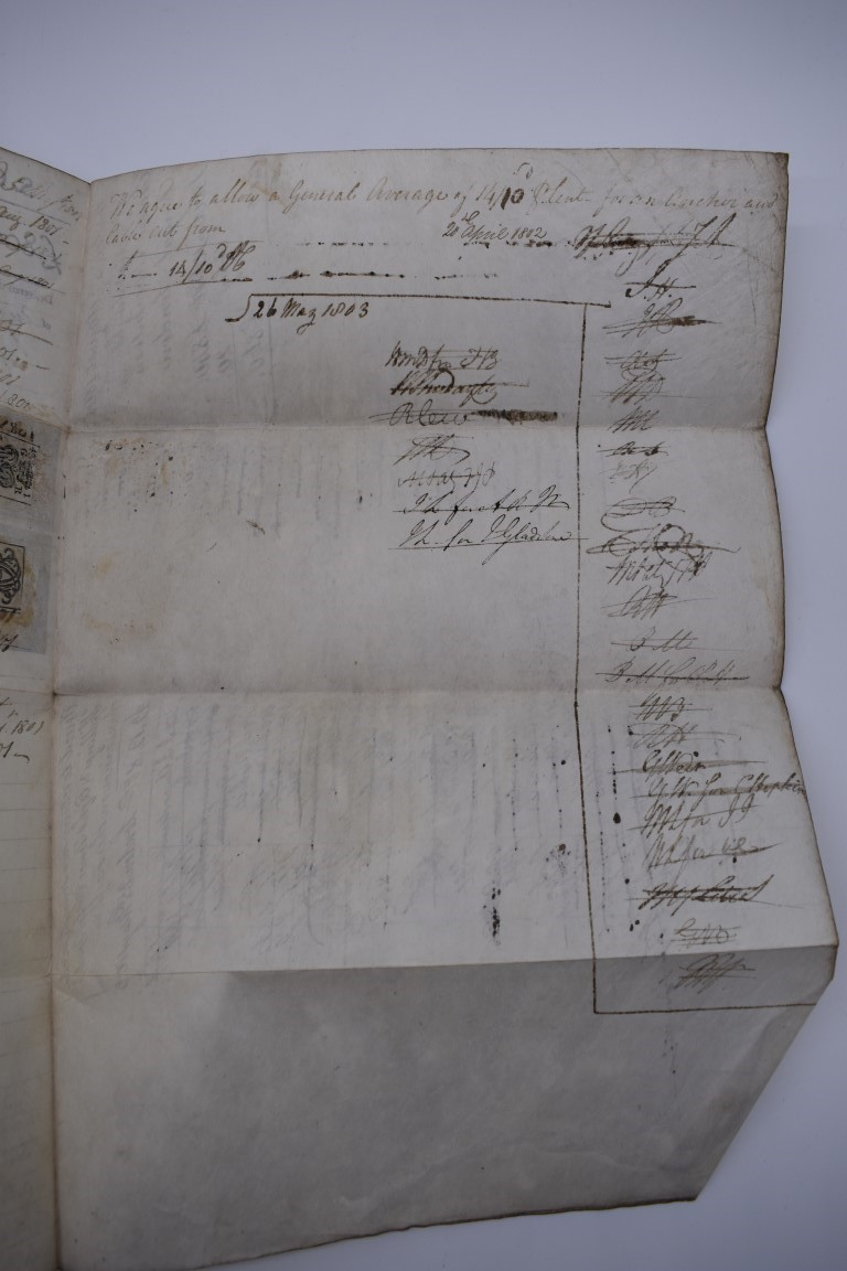 MARITIME DOCUMENTS:a group of 3, to include marine insurance policy 1801, all war risks covered ' - Image 11 of 15