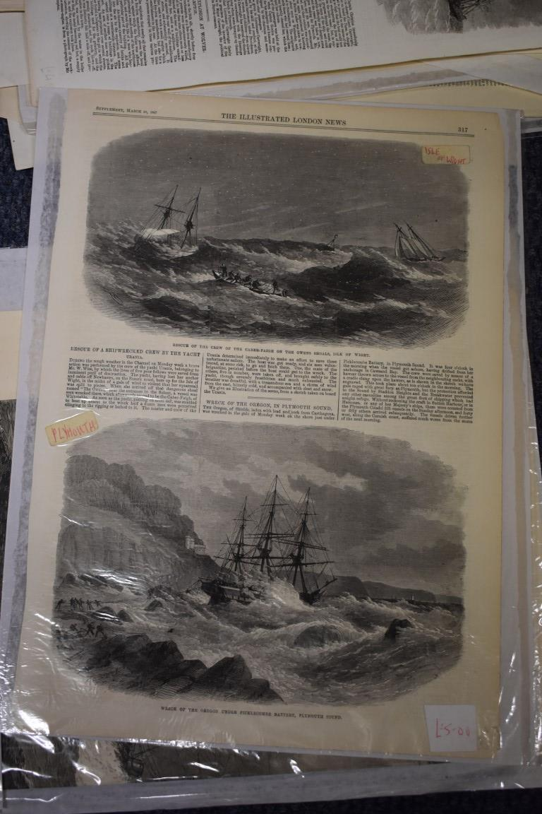 MARITIME ENGRAVINGS: SHIPWRECKS:collection of approx 50 prints and engravings, largely 18th-19th - Image 61 of 62