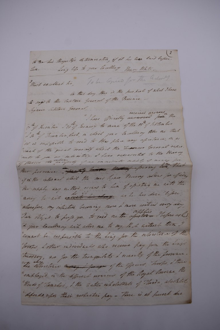 CUBA:contemporary manuscript translation of letter from Governor Henry White of Florida to - Image 8 of 10