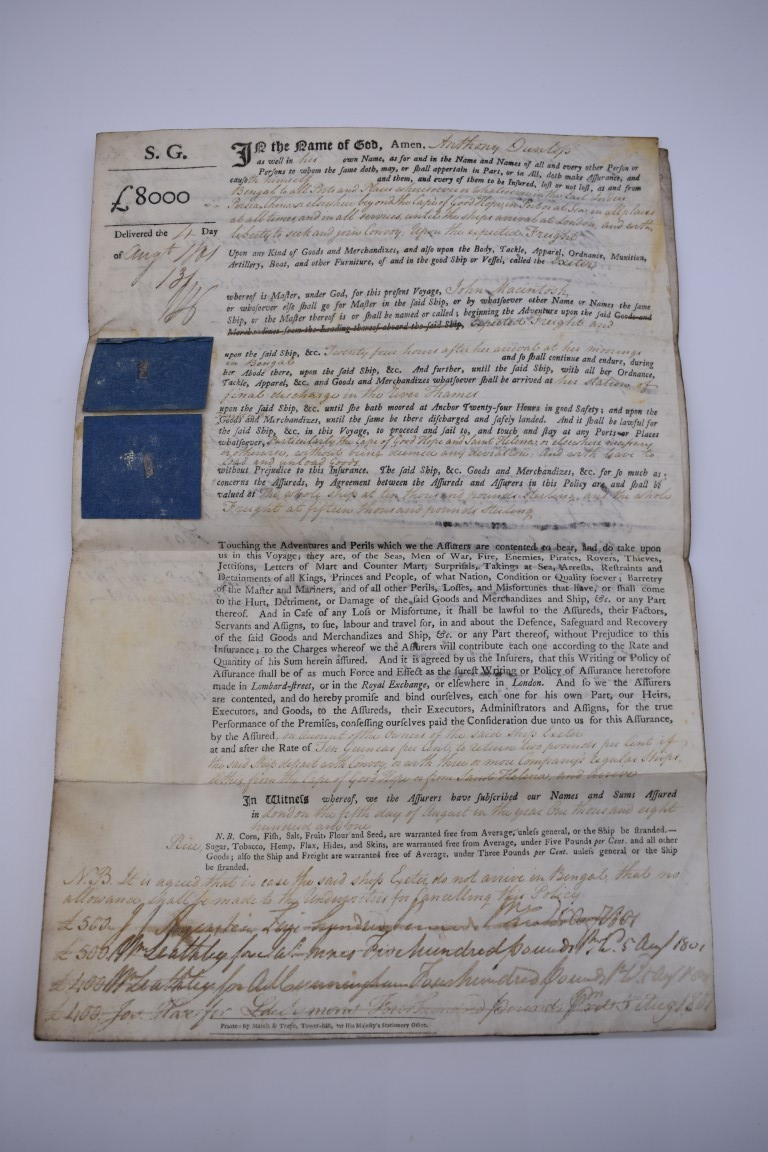 MARITIME DOCUMENTS:a group of 3, to include marine insurance policy 1801, all war risks covered ' - Image 6 of 15