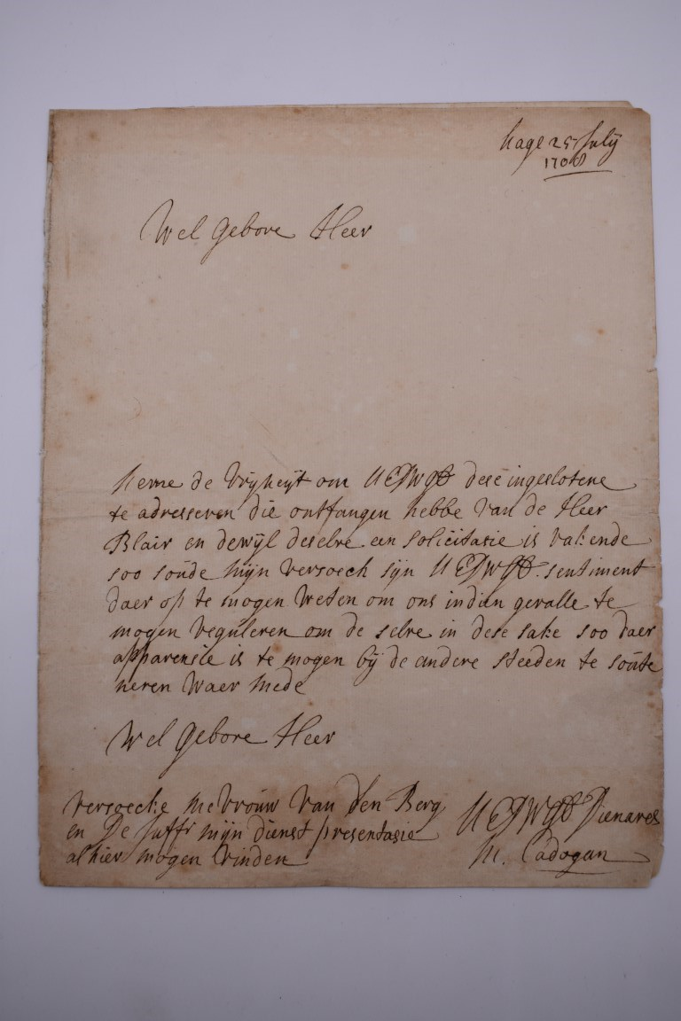 MANUSCRIPTS, 17TH-18TH CENTURY: group of 6 items, to include letter entire dated 25.7.1714, - Image 2 of 10