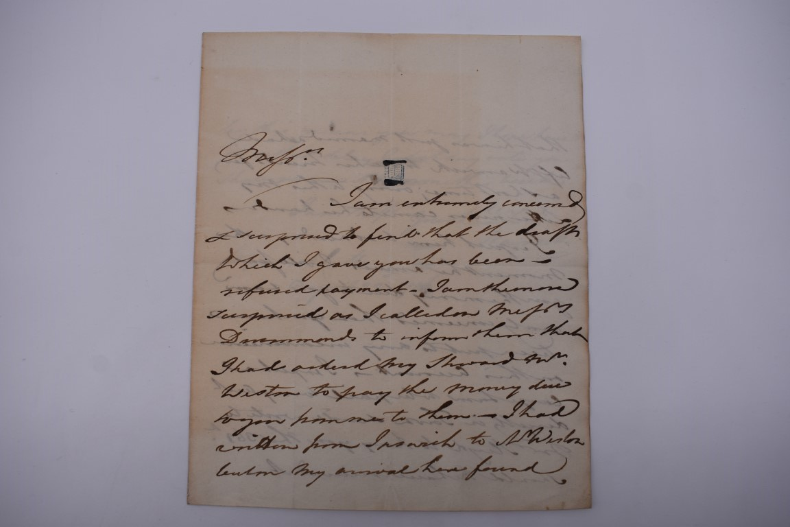 LETTERS, 18TH-19THC:collection of approx 13 items, to include 3 side ALS from the Earl of - Image 5 of 24