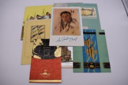 CUNARD WHITE STAR, RMS AQUITANIA:collection of 7 luncheon and dinner menus, 1938: together with